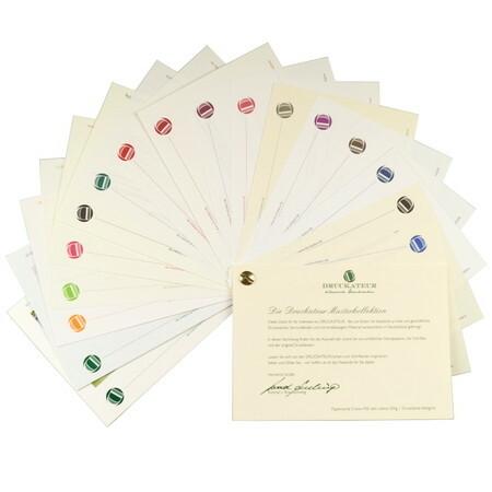 Musterheft Papierkollektion und Druckfarben