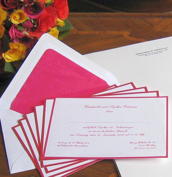 Einladungskarten pink mit seidengefütterten Umschlägen
