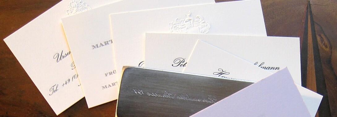 Druckateur - elegante Stahlstich Visitenkarten und Stahlstich Briefpapier edel im Stahlstichprägedruck online kaufen